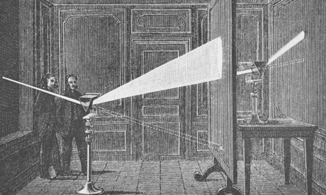 Experiment for using a prism to split sunlight (National Maritime Museum)