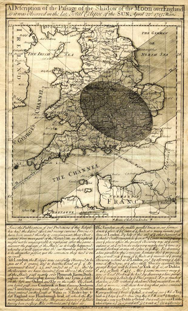 Halley's map of the 1715 eclipse, produced and corrected after the event. Institute of Astronomy, University of Cambridge