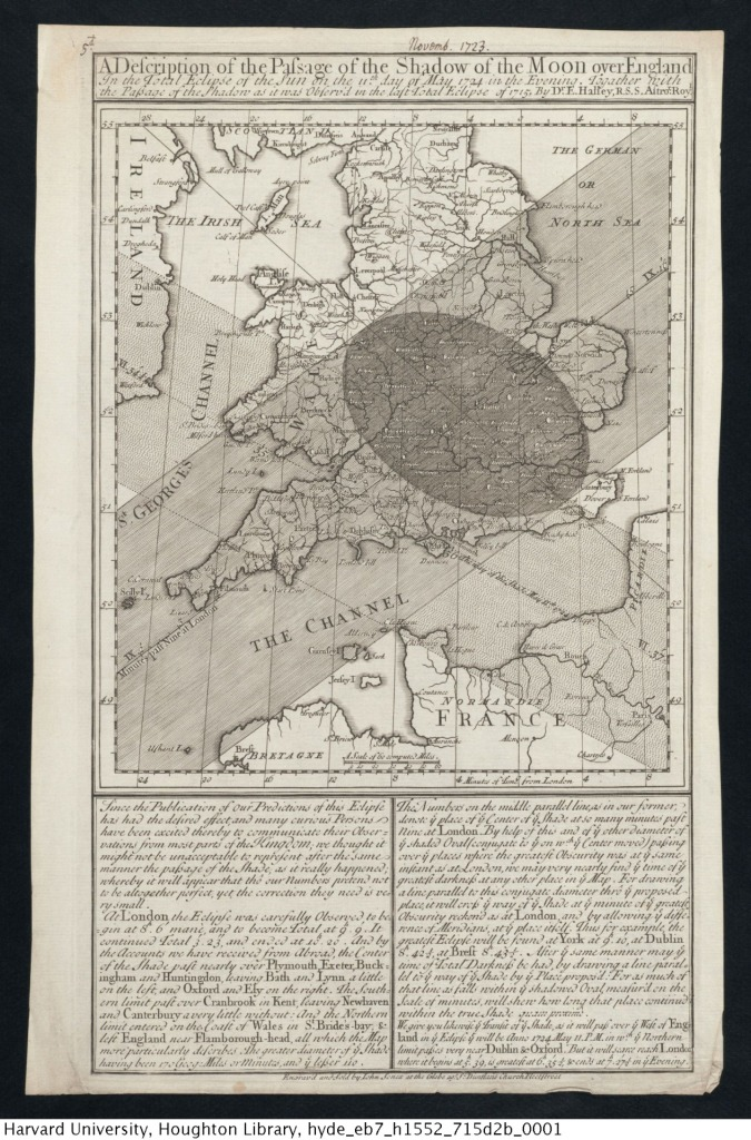 Halley's map showing the 1715 and 1724 solar eclipses. Houghton Library (EB7 H1552 715d2b).