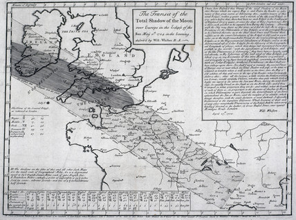 Whiston's map showing the predicted path of the 1724 eclipse. Science & Society Picture Library/Royal Astronomical Society.