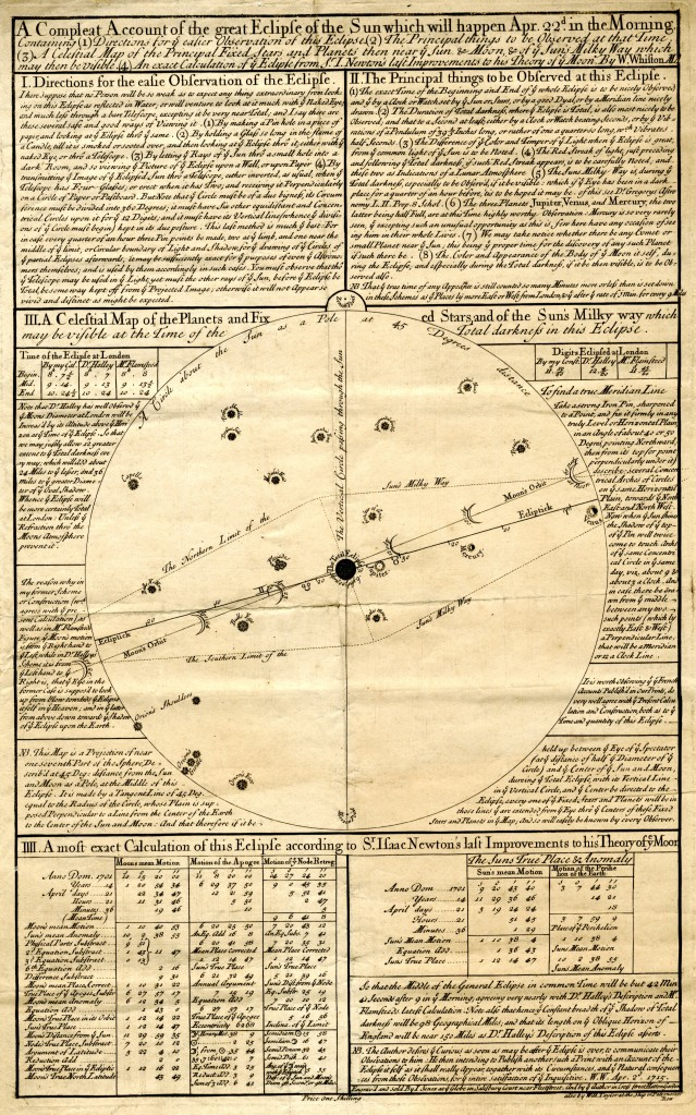 Whiston's broadsheet predicting the timing and path of the 1715 comet. Institute of Astronomy, University of Cambridge (AMI/11/B).
